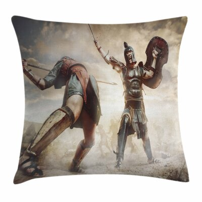 Ancient Gladiators Square Cushion Pillow Cover Size: 18 x 18