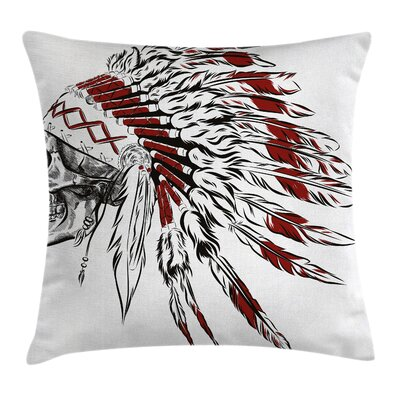 Feather Headdress Skull Square Pillow Cover Size: 24 x 24
