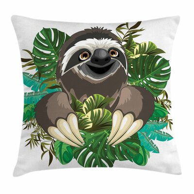Cartoon Sloth Jungle Square Pillow Cover Size: 16 x 16