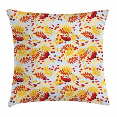 Ripe Berries Dried Leaves Square Pillow Cover Size: 18 x 18