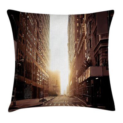 Cityscape Early Morning Sunrise Cushion Pillow Cover Size: 24 x 24