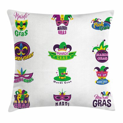 Mardi Gras Masks Ancient Lily Square Cushion Pillow Cover Size: 20 x 20