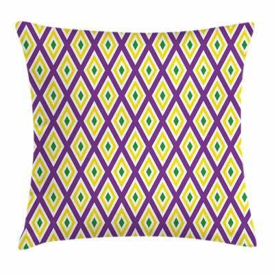 Mardi Gras Diamond Line Pattern Square Cushion Pillow Cover Size: 18 x 18