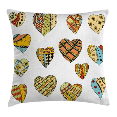 Set of Heart Shapes Square Pillow Cover Size: 24 x 24