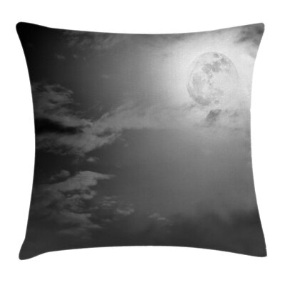 Night Sky Full Moon and Clouds Square Pillow Cover Size: 18 x 18