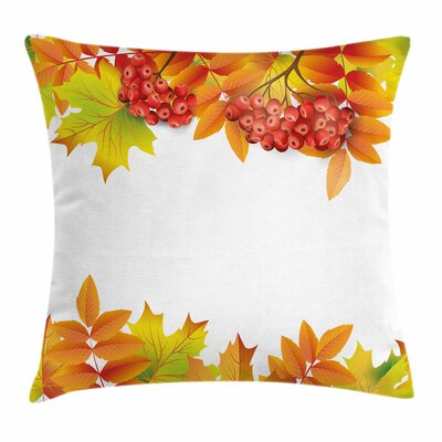 Autumn Branches Border Square Pillow Cover Size: 18 x 18