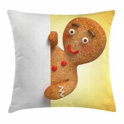 Gingerbread Man Xmas Character Square Pillow Cover Size: 20 x 20