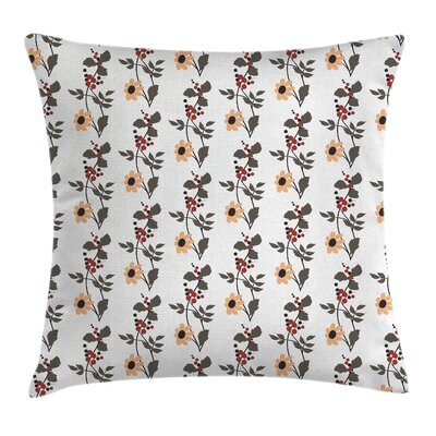 Blossoms Buds Leaves Cushion Pillow Cover Size: 18 x 18