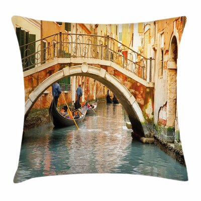 Ancient Bridge Gondola Square Pillow Cover Size: 16 x 16