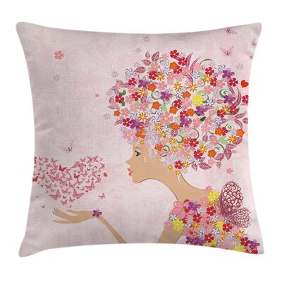 Flowers Girl Butterflies Square Pillow Cover Size: 20 x 20