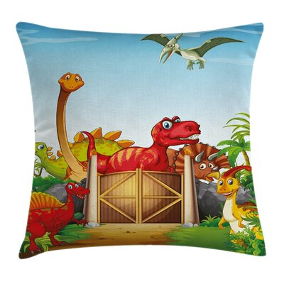 Cartoon Dinosaurs in Park Square Pillow Cover Size: 16 x 16
