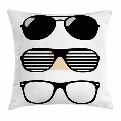 Vintage Sunglasses Set Square Cushion Pillow Cover Size: 18 x 18