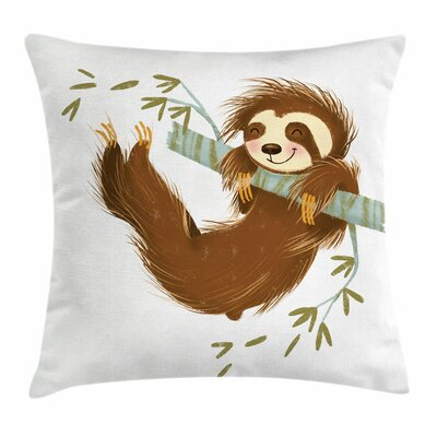 Cheerful Sloth on Tree Square Pillow Cover Size: 16 x 16