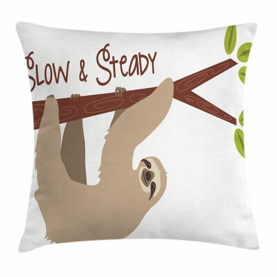 Cartoon Wildlife Sloth Square Pillow Cover Size: 24 x 24