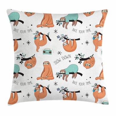Cute Sloths on Branches Square Pillow Cover Size: 18 x 18