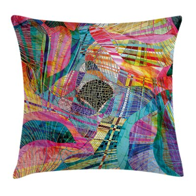 Retro Artistic Graphic Square Pillow Cover Size: 18 x 18