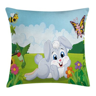 Cute Rabbits Grass Bees Square Pillow Cover Size: 24 x 24