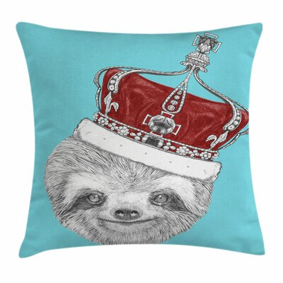 Sloth with Imperial Crown Square Pillow Cover Size: 16 x 16