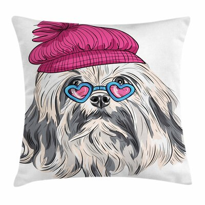 Lowchen Dog Glasses Hat Square Cushion Pillow Cover Size: 24 x 24