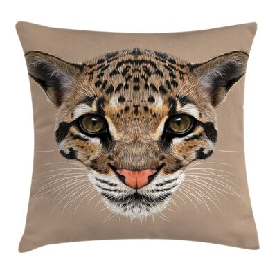Cute Baby Leopard Wild Cushion Pillow Cover Size: 24 x 24