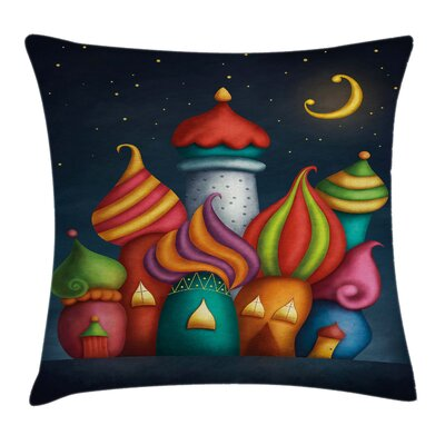 Fantasy Oriental Castles Moon Square Pillow Cover Size: 20 x 20