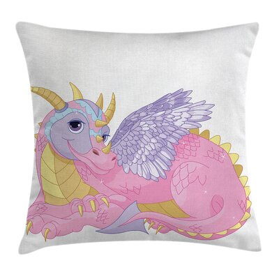 Cartoon Cute Lady Dragon Posing Cushion Pillow Cover Size: 24 x 24