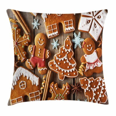 Gingerbread Man Cookies Snow Square Pillow Cover Size: 16 x 16