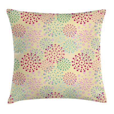 Flowers Polka Dots Cushion Pillow Cover Size: 18 x 18