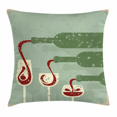 Wine Grunge Retro Wine Pouring Square Pillow Cover Size: 16 x 16