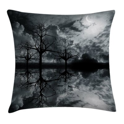 Trees Night Sky Cloud Square Pillow Cover Size: 16 x 16