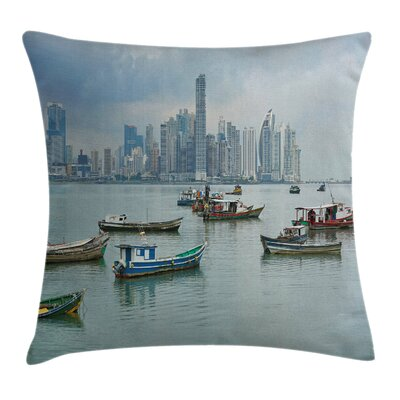 Fishing Boats Panama Square Pillow Cover Size: 24 x 24