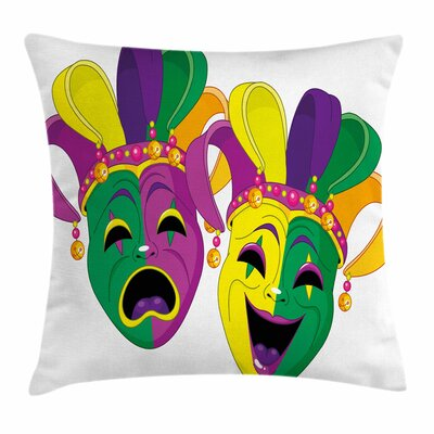 Mardi Gras Tragedy and Comedy Square Cushion Pillow Cover Size: 16 x 16