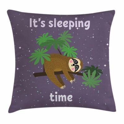 Sloth Cute Cartoon Character Square Pillow Cover Size: 18 x 18