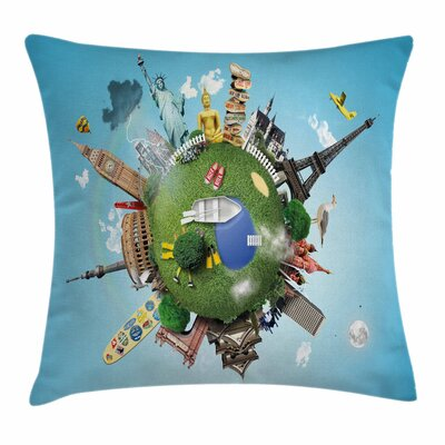 Historic Landmarks Travel Square Pillow Cover Size: 18 x 18
