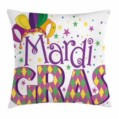 Mardi Gras Joyful Party Theme Square Cushion Pillow Cover Size: 16 x 16