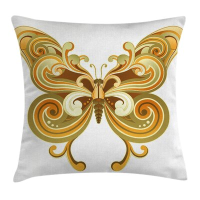 Modern Macro Butterfly Figure Square Pillow Cover Size: 18 x 18