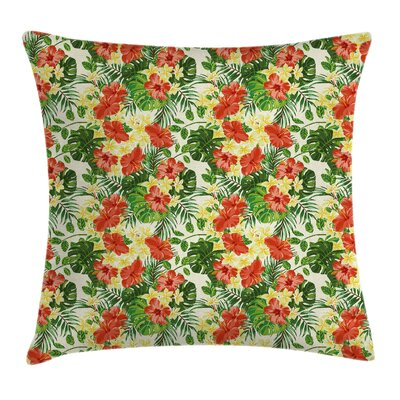 Exotic Flowers Pattern Square Pillow Cover Size: 18 x 18