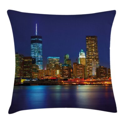 Manhattan Sunset Skyline Cushion Pillow Cover Size: 16 x 16
