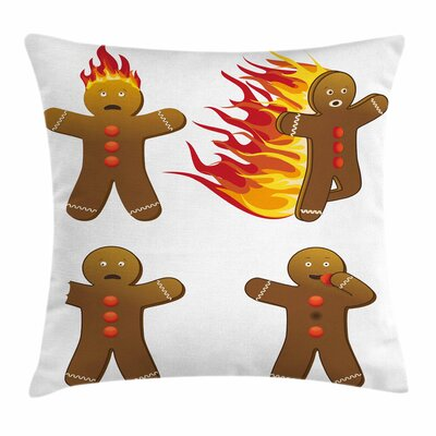 Gingerbread Man Funny Figures Square Pillow Cover Size: 16 x 16