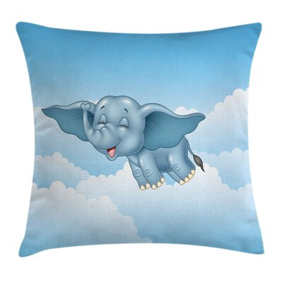Baby Elephant and Clouds Square Pillow Cover Size: 24 x 24