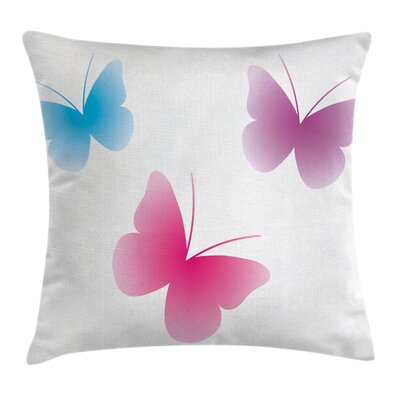 Butterfly Silhouettes Square Pillow Cover Size: 16 x 16