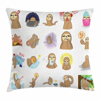 Sloth Set of Manga Characters Square Pillow Cover Size: 18 x 18