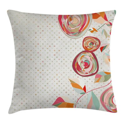 Petals Buds Dots Square Pillow Cover Size: 16 x 16