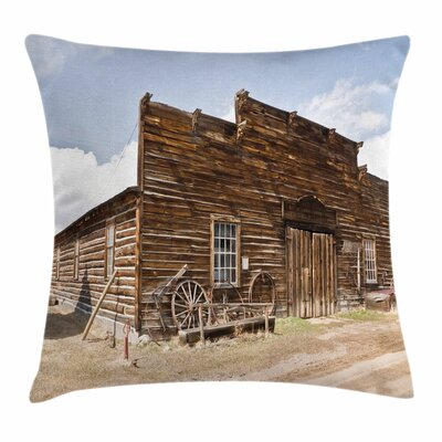 Wheel Empty Ghost Town Square Pillow Cover Size: 16 x 16