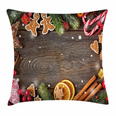 Gingerbread Man Spices Biscuits Square Pillow Cover Size: 16 x 16