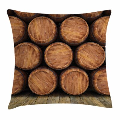 Wine Wall of Wooden Barrels Square Pillow Cover Size: 16 x 16