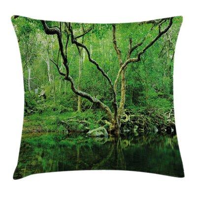 Nature Theme Jungle Square Pillow Cover Size: 16 x 16