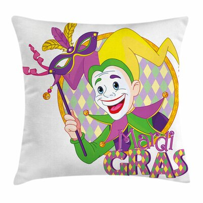 Mardi Gras Cartoon Jester Mask Square Cushion Pillow Cover Size: 16 x 16