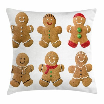 Gingerbread Man Homemade Sweet Square Pillow Cover Size: 18 x 18