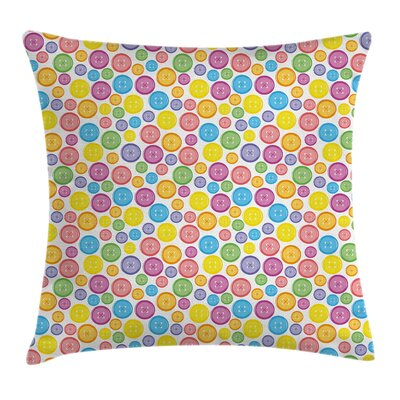 Circular Buttons Artistic Square Pillow Cover Size: 16 x 16